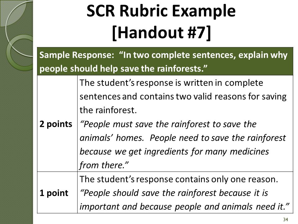 SCR Rubric Example [Handout #7]